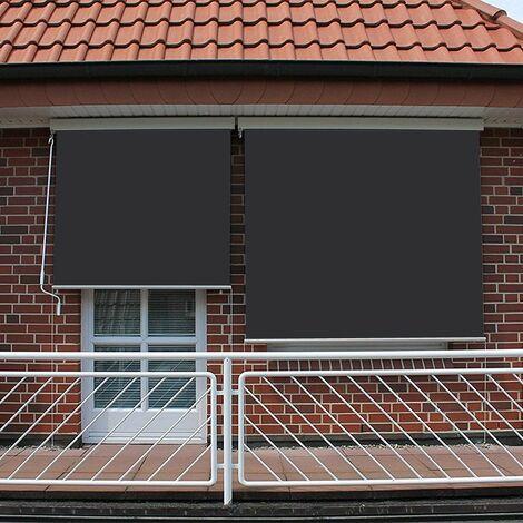Store vertical enrouleur extérieur pour terrasse ou balcon - 1,4 x 2,5 m - Blanc laqué - Gris anthracite