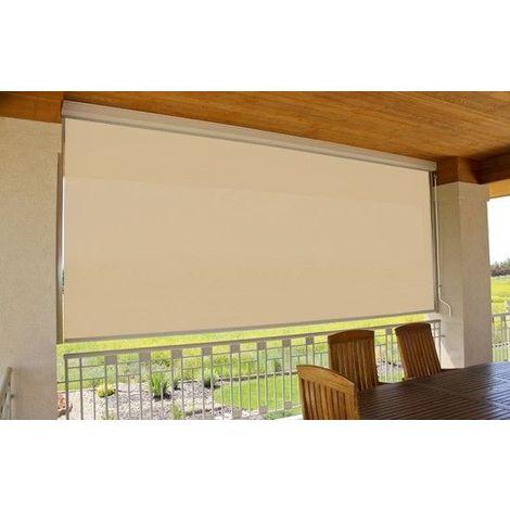 Store vertical enrouleur extérieur pour terrasse ou balcon - 1,8 x 2,5 m - Blanc laqué - Dune