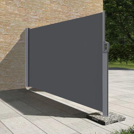 Stores latéral paravent extérieur brise vue pour terrasse - 1.6x3.5m - Gris anthracite - Gris anthracite