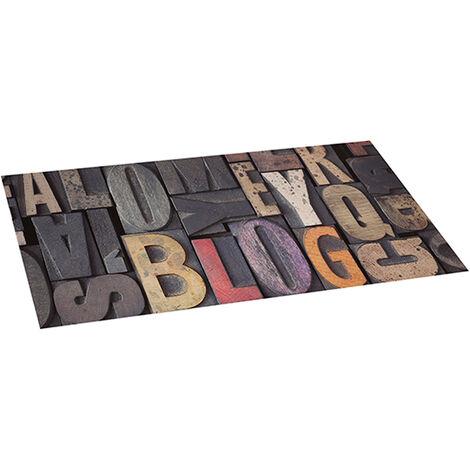 Storplanet tapis vinyle PVC Recyclable Croma Wood avec des lettres 50 x 110 cm