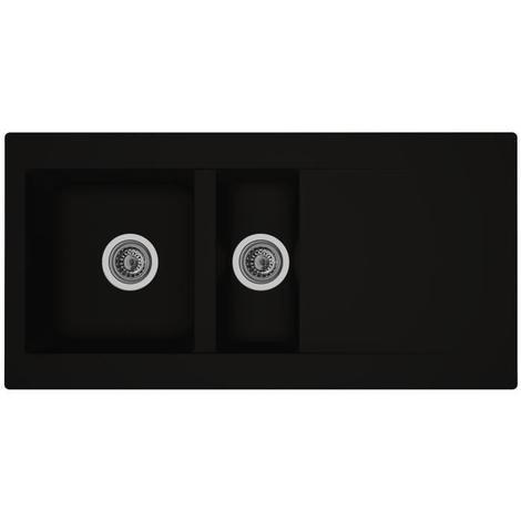 STRADOUR Evier cuisine a encastrer 1.5 bac + 1 égouttoir Einna - Résine - 100 x 50 cm - Noir