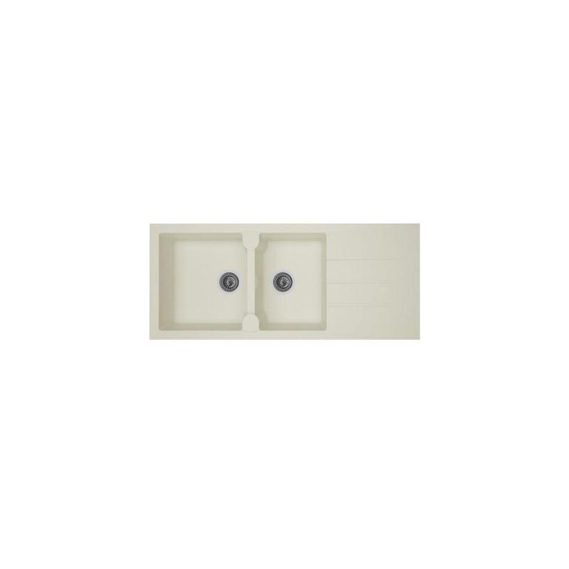 STRADOUR Evier cuisine a encastrer 2 bacs + 1 egouttoir Aloa - Resine - 116  x 50 cm - Blanc
