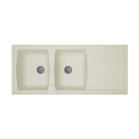 STRADOUR Evier cuisine a encastrer 2 bacs + 1 egouttoir Arena - Resine -  116 x 50 cm - Blanc