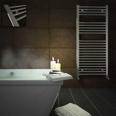 Straight Chrome Heated Bathroom Towel Rail Radiator Warmer 1100x500mm