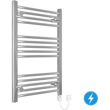 Straight Electric Heated Thermostatic Towel Rail Chrome 800x500mm 150W
