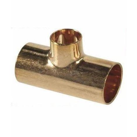 Straight Pipe Fitting Tee Copper Joint Solder 22x18x22mm Water Installation