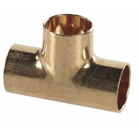 Straight Pipe Fitting Tee Copper Joint Solder 22x22x22mm Water Installation
