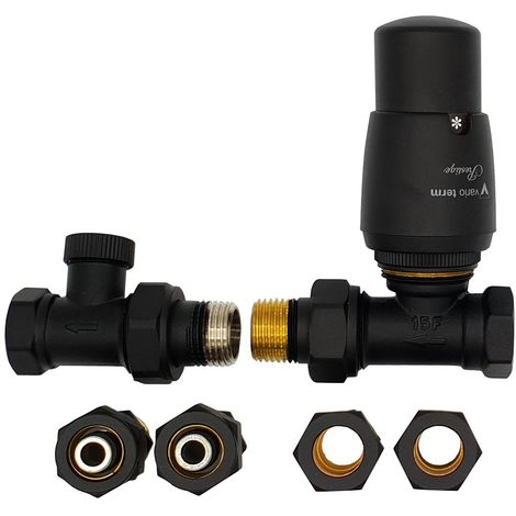 Straight Version Black Powder Coated Brass Thermostatic Lockshield Valve Radiator Set + Copper (Cu) and PEX Connectors
