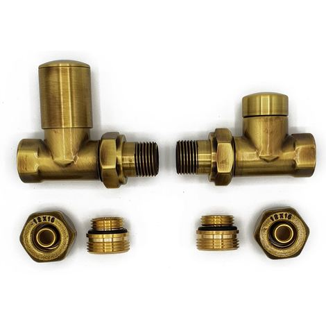 Straight Version with PEX Connectors Elegant Antique Brass Regulating + Lockshield Valve Radiator Set