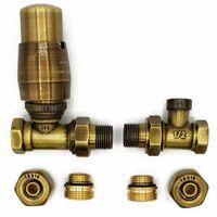 Straight Version with PEX Connectors Elegant Antique Brass Thermostatic Lockshield Valve Radiator Set