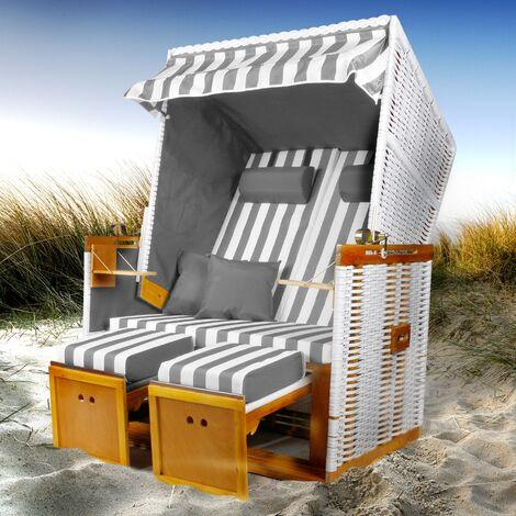Strandkorb 'Norderney' grau/weiß gestreift