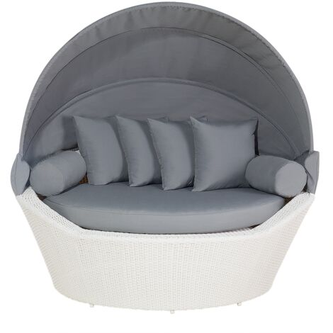 Strandkorb weiß/grau Polyrattan Baumwolle 2-Sitzer Sonnendach inkl. Kissen
