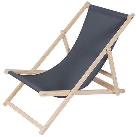 Strandliege Holz Liegestuhl Gartenliege Sonnenliege Strandstuhl - klappbar - Anthrazit