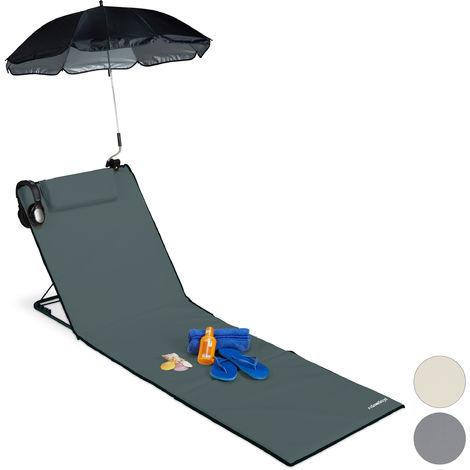 Strandmatte, gepolsterte Strandliege XXL m. Sonnenschirm, 3-stufig verstellbar, Kopfkissen, tragbar, anthrazit