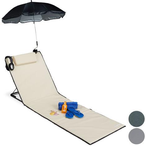Strandmatte, gepolsterte Strandliege XXL mit Sonnenschirm, 3-stufig verstellbar, Kopfkissen, tragbar, beige