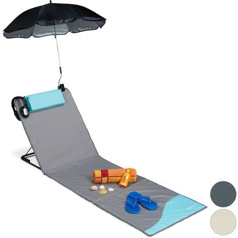 Strandmatte, gepolsterte Strandliege XXL mit Sonnenschirm, 3-stufig verstellbar, Kopfkissen, tragbar, grau