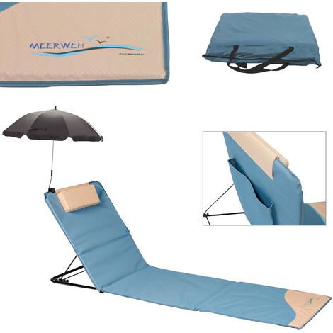 Strandmatte mit Sonnenschirm XXL gepolstert 200 x 60 x 3 cm Badematte Strandtuch mit Rückenlehne Strandliege faltbar inkl. Kopfkissen Tragetasche blau beige
