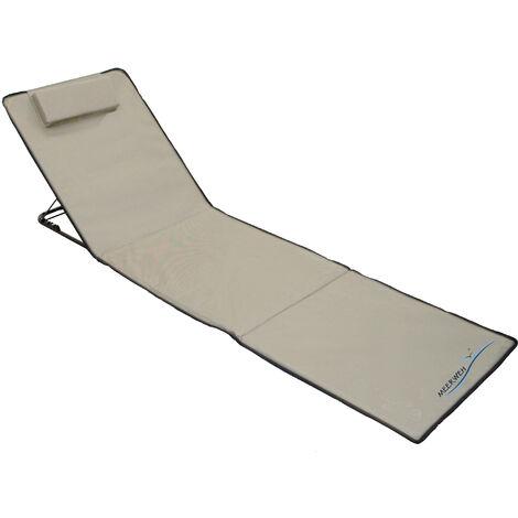 Strandmatte XXL gepolstert 200 x 60 x 3 cm Badematte Strandtuch mit Rückenlehne Strandliege faltbar inkl. Kopfkissen Tragetasche beige