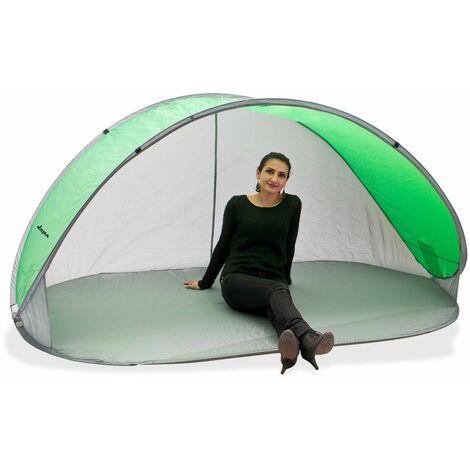 Strandmuschel Pop Up Strandzelt Sonnenschutz Windschutz grün/grau Wurfzelt