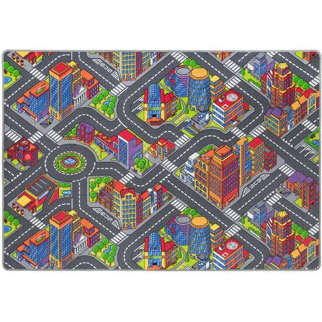 Straßenteppich Kinderteppich 95x200 cm Grau Bunt Großstadt
