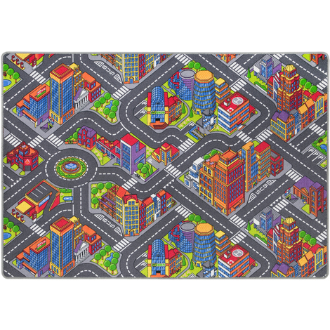 Straßenteppich Kinderteppich Großstadt Spielteppich Grau Bunt