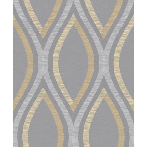"""main image of """"Strata Geometric Curve Wallpaper Grey Silver Yellow Textured Embossed Grandeco"""""""