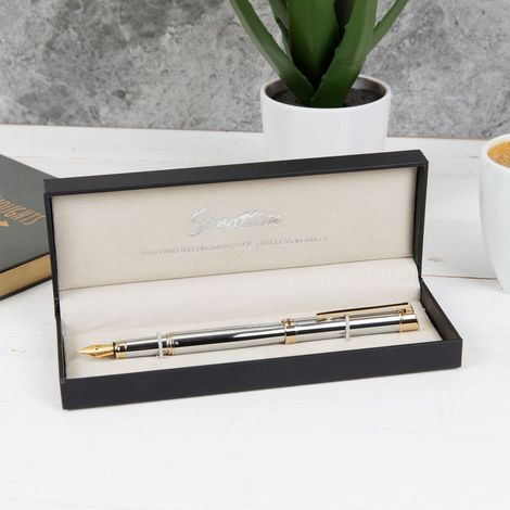 Stratton Fountain Pen - Silver & Gold