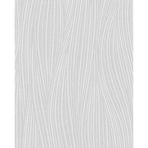 Streifen Tapete EDEM 82050BR50 Vinyltapete strukturiert mit geschwungenen Linien dezent glitzernd weiß 7,95 m2