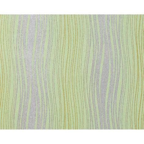 Streifen Vliestapete EDEM 695-95 Design Tapete geschwungene Linien Glitzereffekt hellgrün silber-grau oliv 10,65 qm