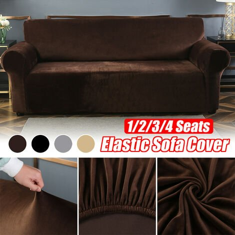 Stretch elastic velvet armchair cover with solid color sofa (gray, 2 seater)