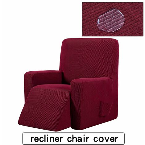 Stretch Reclining Chair Cover Waterproof Winered Sofa Cover, Plaid