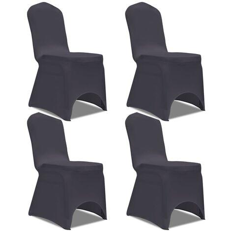 Stretch Stuhlbezug 4 Stück Anthrazit