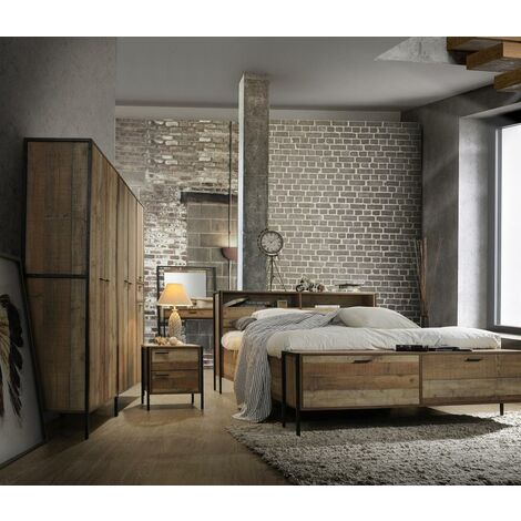 Stretton 3 Piece Bedroom Furniture Set Wardrobe 4 Drawer Chest Bedside Rustic