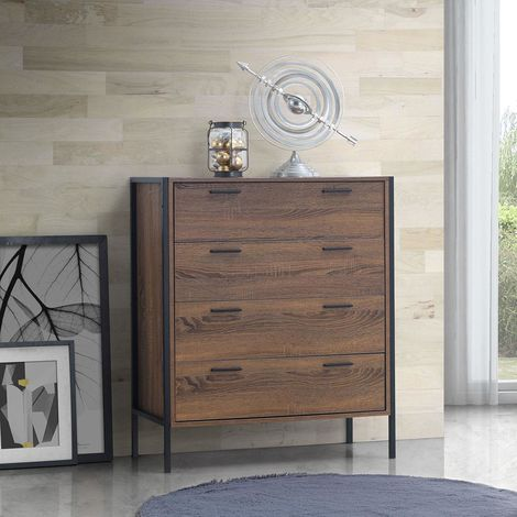 Stretton Bedroom Chest Of 4 Drawers Wenge Oak Effect Industrial Furniture