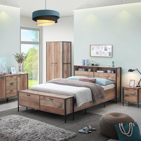 Stretton Industrial 4ft6 Double Bed Frame Oak Effect Bedstead Built-In Storage