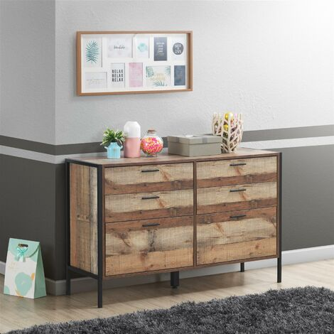 Stretton Rustic Chest 6 Drawers Bedroom Living Room Storage Industrial Oak