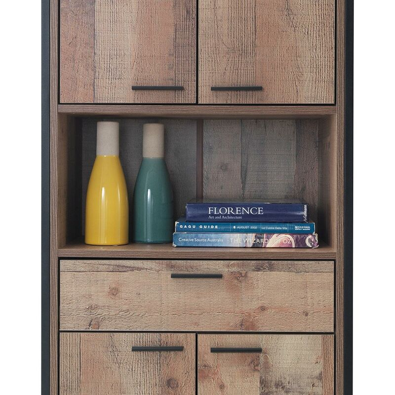 Stretton Tall Storage Kitchen Pantry Sideboard Cabinet Rustic Industrial Oak Tad070