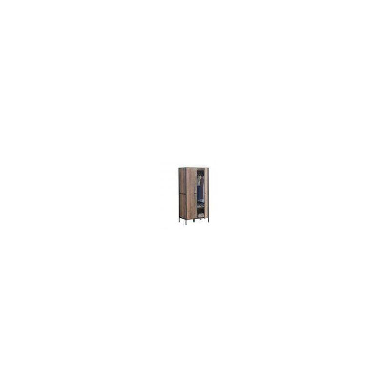 Stretton Urban 2 Door Double Wardrobe Bedroom Furniture Rustic Industrial Oak Tad072