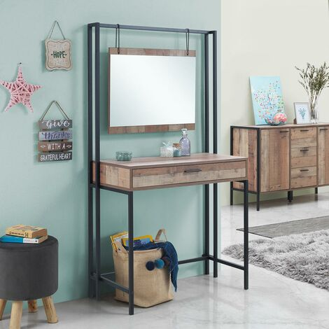 Stretton Urban Bedroom Dressing Vanity Makeup Table Mirror & Drawer Rustic Oak