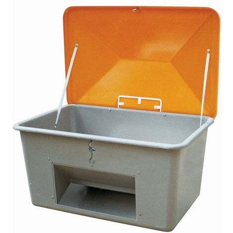Streugutbehälter L2130xB1520xH1240mm 2200l GFK grau/orange m.Entnahmeöffnung