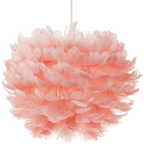"""main image of """"Striking and Contemporary Real Pink Goose Feather Decorated Pendant Light Shade by Happy Homewares"""""""
