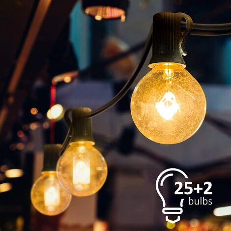 """main image of """"String Lights, String Lights, Connectable String Lights with 25 Warm White Bulbs G40 String Lights, Indoor and Outdoor Decoration for Patio, Cafe, Garden, Party Decoration [Energy Class A]"""""""