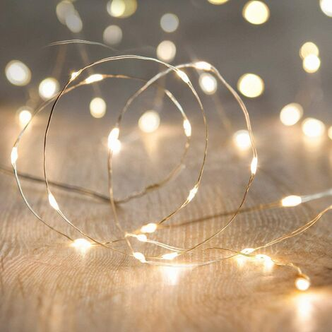 """main image of """"String Lights,Waterproof LED String Lights,10Ft/30 LEDs Fairy String Lights Starry ,Battery Operated String Lights for Indoor&Outdoor Decoration Wedding Home Parties Christmas Holiday.(Warm White)"""""""