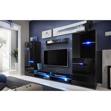STRING   Unité murale style contemporain 4 pcs   Éclairage LED inclus   Mur TV   Ensembles meubles salon séjour   Gloss + Mat - Noir
