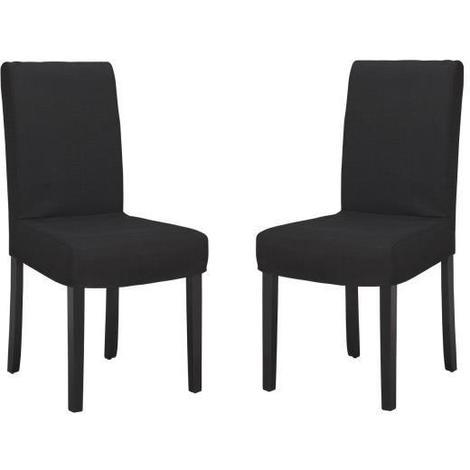 STRIP Lot de 2 Chaises de salle a manger déhoussable Tissu noir Contemporain L 44 x P 53 cm Generique