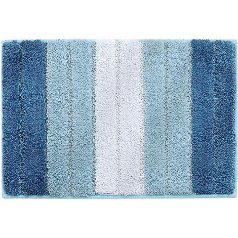 Stripe Door Mat,Non-Slip Soft Microfiber Entry Way Bathroom Rug,Heavy Duty,Absorbent,Machine Wash Bath Mat for Indoor Outdoor-Gradient blue