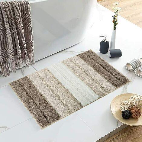 Stripe Door Mat,Non-Slip Soft Microfiber Entry Way Bathroom Rug,Heavy Duty,Absorbent,Machine Wash Bath Mat for Indoor Outdoor-Gradient brown