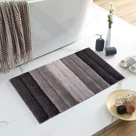 Stripe Door Mat,Non-Slip Soft Microfiber Entry Way Bathroom Rug,Heavy Duty,Absorbent,Machine Wash Bath Mat for Indoor Outdoor-Gradient gray