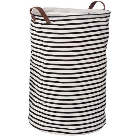Stripe Laundry Bag,Polyester/Cotton/Rayon,Black / Natural