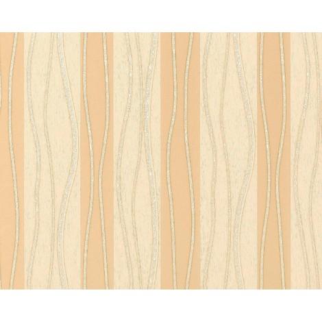 Stripe non-woven wallpaper wall 955-21 XXL Luxury style striped beige brown cream gold 10.65 sqm (114 sq ft)